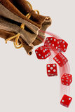 Rolling the Dice. Rolling the red dice with room for your type Royalty Free Stock Photos