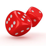 Rolling dice. Two red dice rolling on the white background stock illustration