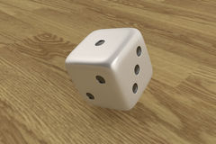 Rolling dice on wooden background. 3D render of rolling dice on wooden background royalty free illustration