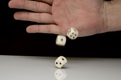 Rolling dices. Taking risk - rolling dices - conceptual photo Royalty Free Stock Photo