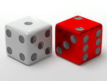 Rolling dices. Falling dices on a white background 3d render Stock Photo