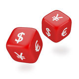 Rolling Dices with Currency Symbols Stock Photos