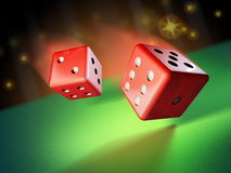 Rolling dices. Two dices rolling on a green surface. 3D illustration Royalty Free Stock Photo