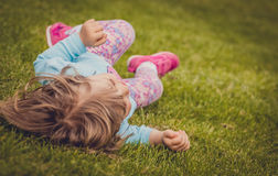 Rolling down on the grass Stock Images
