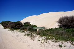 Rolling Dunes, Eyre Peninsula. Rolling sand dunes at the entrance to the Port Lincoln National Park, Eyre Peninsula (Australia Royalty Free Stock Photos
