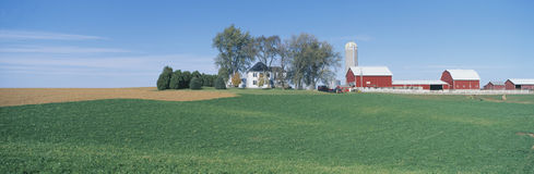 Rolling Farm Fields, Great River Road, Balltown, N.E. Iowa Royalty Free Stock Image