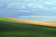 Rolling Farm Fields Under a Cloudy Sky. Palouse, Washington Stock Images