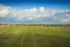 Rolling fields and village Royalty Free Stock Photos