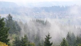 Rolling fog and low clouds over suburb landscape and residential homes in Happy Valley Oregon stock video
