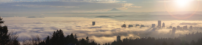 Rolling Fog Over City of Portland at Sunrise Royalty Free Stock Photography