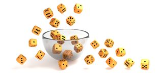 Rolling golden dice on clear glass bowl stock illustration