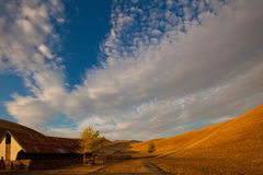 Rolling golden hills farm land Stock Photo