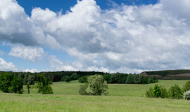 Rolling Green Fields and Forest with White Clouds Royalty Free Stock Images