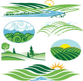 Rolling Green Hills. Clip art collection of hills and valleys Royalty Free Stock Image