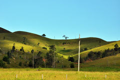Rolling green hills at Mt. Barney. Beautiful shape mountains and rolling hills with grass and trees Stock Photo