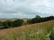 Rolling Heuvels en landbouwgrond bij Heilig Familieheiligdom Gretna Nebraska stock foto