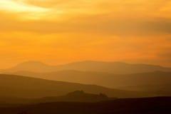 Rolling heuvels in silhouet Royalty-vrije Stock Afbeeldingen