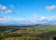 Rolling hills, Blue skies, Woodland Landscape stock images