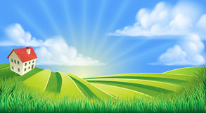 Rolling Hills coloca a exploração agrícola Imagem de Stock
