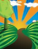 Rolling Hills con il tramonto illustrazione di stock