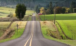 Country Hills. Rolling hills descend in a rural road in Lane County near Eugene Oregon in the fall stock image