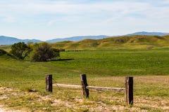 Rolling Hills e pascolo verde con il recinto Fotografia Stock