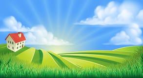 Rolling Hills fängt Bauernhof auf Stockbild