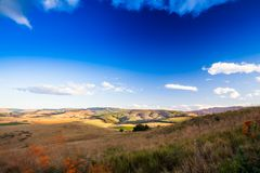 The rolling hills and fertile valleys of the Dargle, Kwazulu-natal, South Africa. The rolling hills and fertile valleys of the Dargle on a fresh winter afternoon stock photos