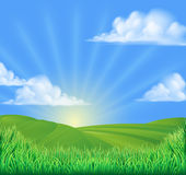 Rolling Hills Field Sun Background stock illustration
