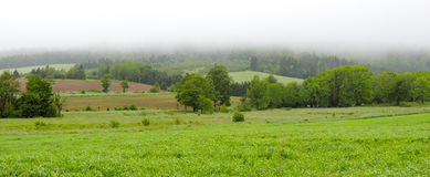 Rolling hills, fields and meadows under foggy low cloud cover,  Greenwood, Nova Scotia. Stock Photos
