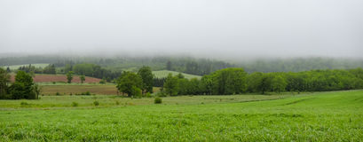 Rolling hills, fields and meadows under foggy low cloud cover,  Greenwood, Nova Scotia. Royalty Free Stock Images