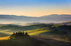 The rolling hills and green fields, Tuscany, Italy Stock Images