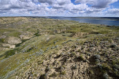 Rolling Hills Lake Diefenbaker Royalty Free Stock Images