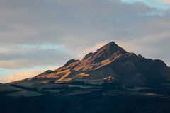 Rolling hills and Mountain Peak in the Morning glow Royalty Free Stock Image