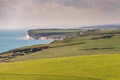 Rolling Hills och klippor av östliga Sussex Arkivbild