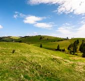 Rolling hills of Podobovec valley. Lovely rural landscape of Carpathian mountains, Ukraine Royalty Free Stock Photography