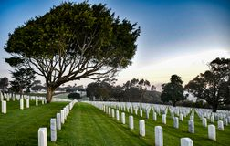The Rolling Hills of Rosecrans Nationall Cemetery stock image