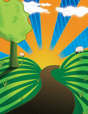 Rolling Hills with Sunset. Path that goes off into distance with beautiful sunset and sheep on hills stock illustration