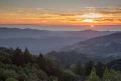 Rolling Hills Sunset of Santa Cruz Mountains and the Pacific Ocean Royalty Free Stock Image