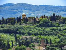 Rolling hills of Tuscan countryside stock photos