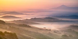 Rolling hills in Tuscan landscape royalty free stock photo