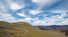 Rolling Hills under linsformad cloudscape för cirrusmoln i den nordliga Yellowstone nationalparken i Wyoming Förenta staterna Royaltyfri Fotografi