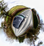 Rolling home. Panoramic 360 degree shot from moving car Royalty Free Stock Images