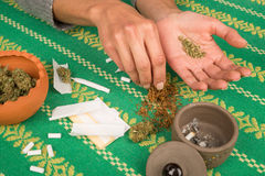 Rolling a joint Stock Image