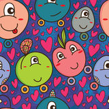 Rolling monster cute seamless pattern Royalty Free Stock Images