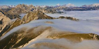 Rolling for in the mountains. Rolling for high in the mountains on a clear day,Slovenia,Julian Alps stock images