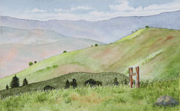 Rolling mountains watercolor painting. A watercolor painting of rolling hills in green and blue royalty free illustration