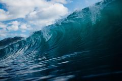 Rolling Ocean Waves Under Clear Blue Sky Stock Photography