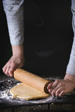 Rolling out dough Royalty Free Stock Photos