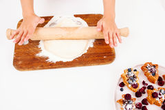 Rolling out dough, pastry cooking, free space Stock Photo